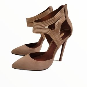 Schutz Bismah Taupe Suede Gold Leather Pump Size 8